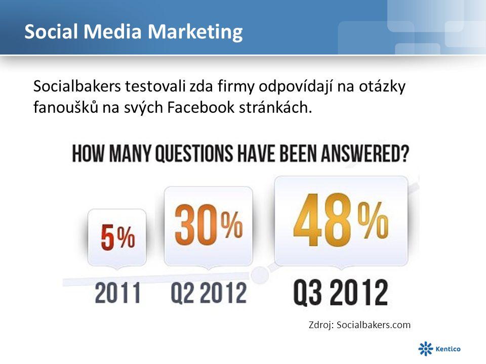 Social Media Marketing Socialbakers testovali zda firmy odpovídají na otázky fanoušků na svých Facebook stránkách.