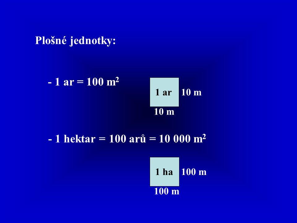Plošné jednotky: - 1 ar =100 m 2 10 m 1 ar - 1 hektar =100 arů = 10 000 m 2 100 m 1 ha