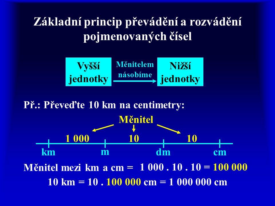 Základní princip převádění a rozvádění pojmenovaných čísel Vyšší jednotky Nižší jednotky Měnitelem násobíme Př.: Převeďte 10 km na centimetry: km m dm
