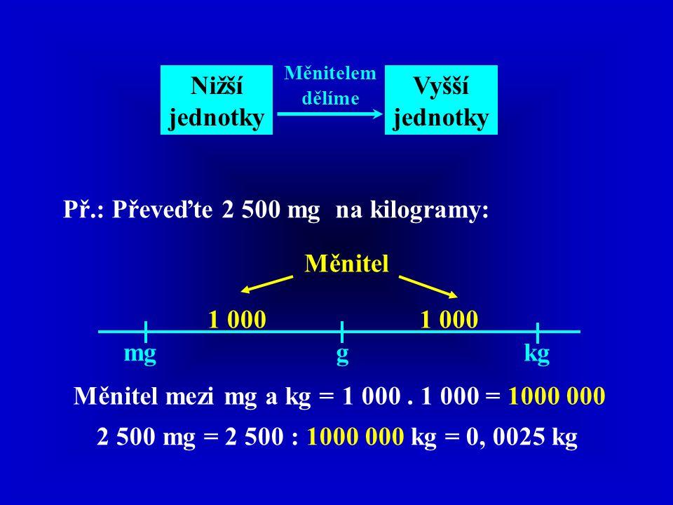 Nižší jednotky Vyšší jednotky Měnitelem dělíme Př.: Převeďte 2 500 mg na kilogramy: mgg kg Měnitel 1 000 Měnitel mezi mg a kg =1 000. 1 000 = 1000 000