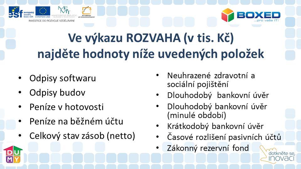 Ve výkazu ROZVAHA (v tis. Kč) najděte hodnoty níže uvedených položek Odpisy softwaru Odpisy budov Peníze v hotovosti Peníze na běžném účtu Celkový sta