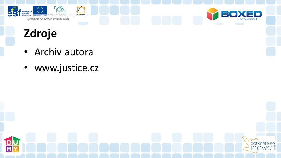 Zdroje Archiv autora www.justice.cz