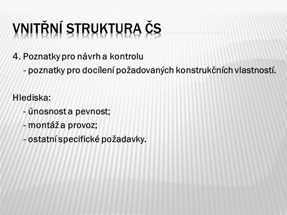 4. Poznatky pro návrh a kontrolu - poznatky pro docílení požadovaných konstrukčních vlastností.