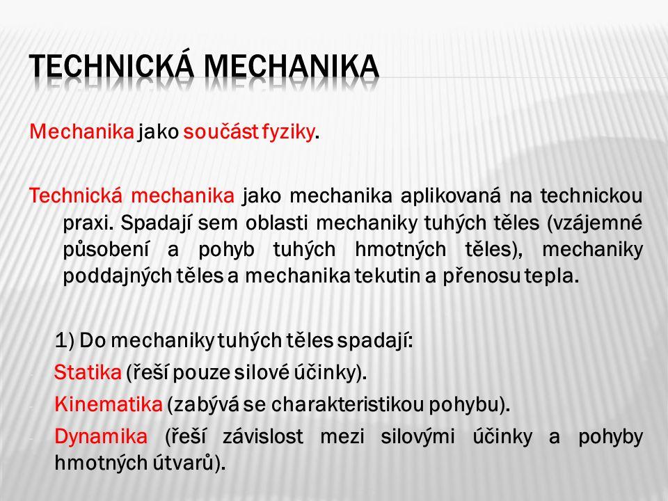 Mechanika jako součást fyziky. Technická mechanika jako mechanika aplikovaná na technickou praxi.