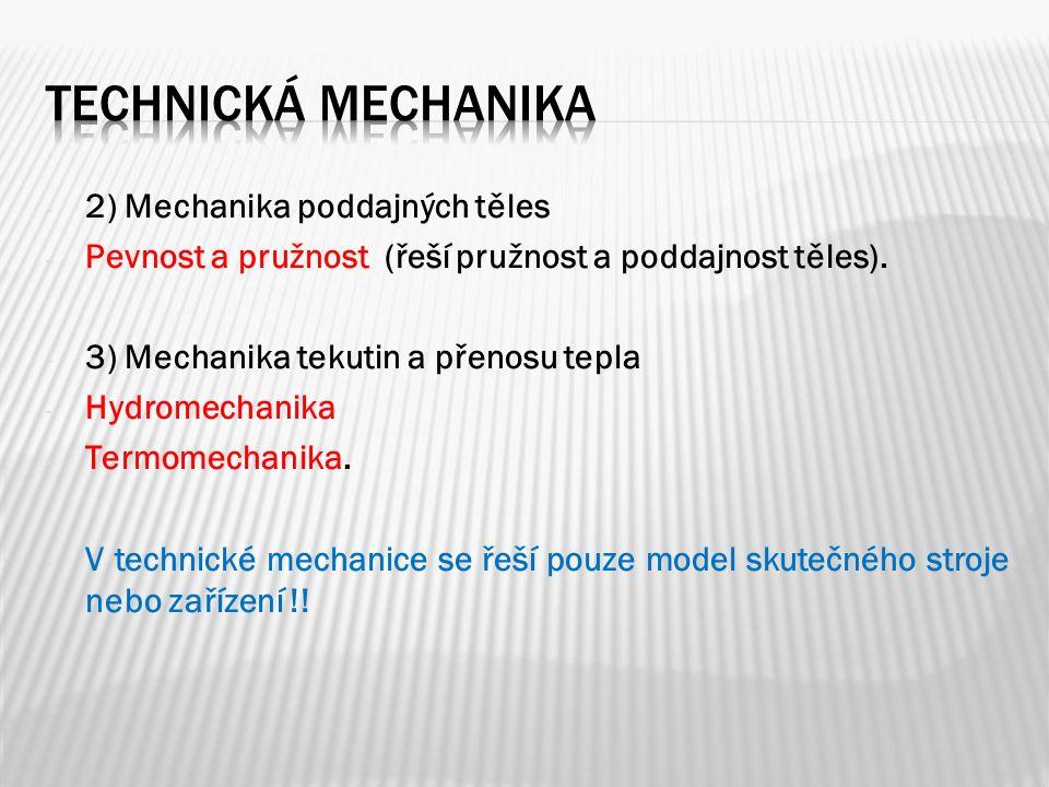 - 2) Mechanika poddajných těles - Pevnost a pružnost (řeší pružnost a poddajnost těles).