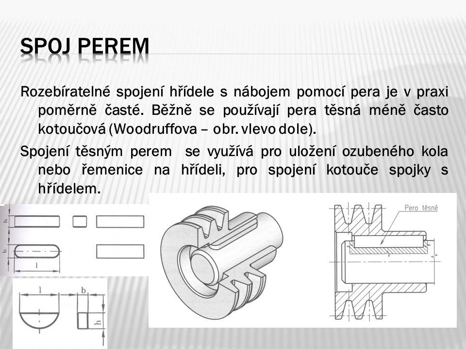 Rozebíratelné spojení hřídele s nábojem pomocí pera je v praxi poměrně časté.