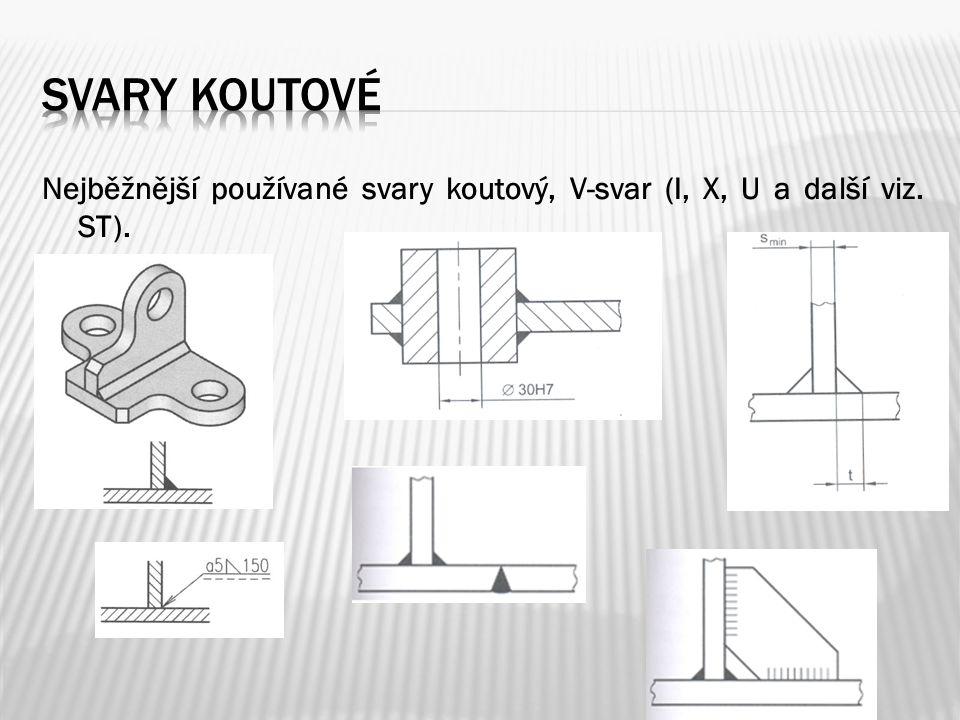 Nejběžnější používané svary koutový, V-svar (I, X, U a další viz. ST).