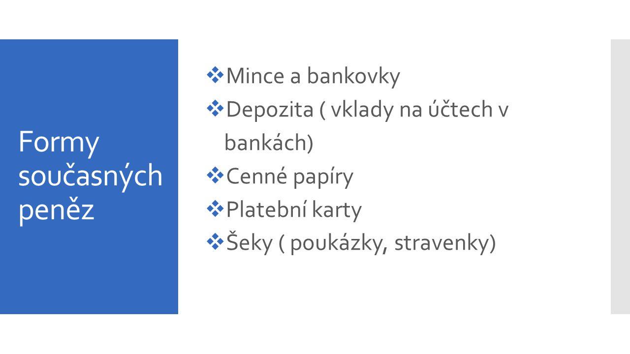 Formy současných peněz  Mince a bankovky  Depozita ( vklady na účtech v bankách)  Cenné papíry  Platební karty  Šeky ( poukázky, stravenky)