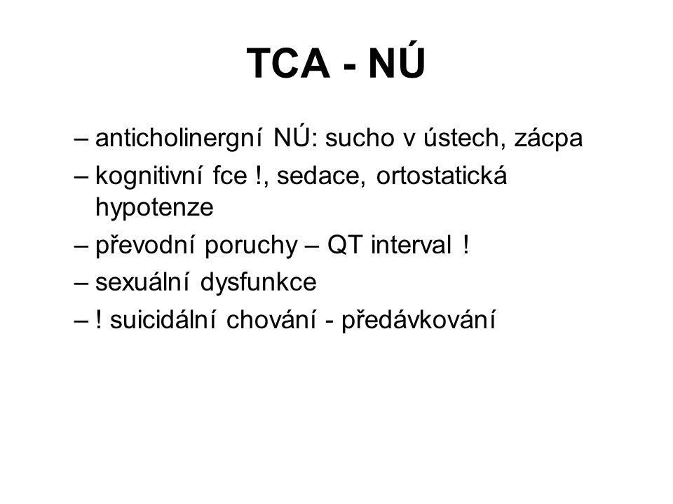 TCA - NÚ –anticholinergní NÚ: sucho v ústech, zácpa –kognitivní fce !, sedace, ortostatická hypotenze –převodní poruchy – QT interval .
