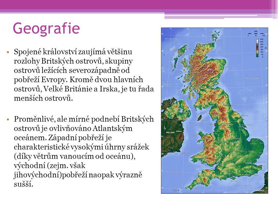 Geografie Spojené království zaujímá většinu rozlohy Britských ostrovů, skupiny ostrovů ležících severozápadně od pobřeží Evropy. Kromě dvou hlavních