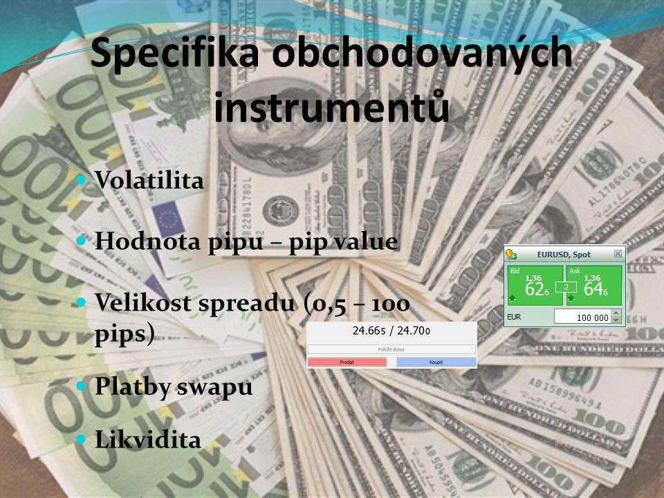 Specifika obchodovaných instrumentů Volatilita Hodnota pipu – pip value Velikost spreadu (0,5 – 100 pips) Platby swapu Likvidita
