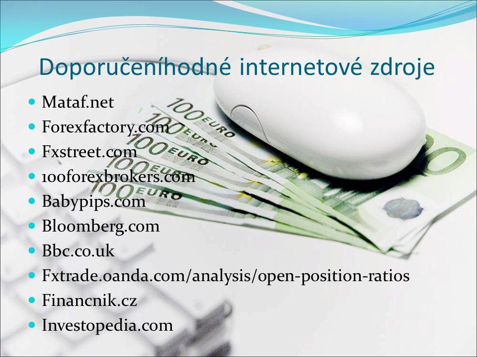 Doporučeníhodné internetové zdroje Mataf.net Forexfactory.com Fxstreet.com 100forexbrokers.com Babypips.com Bloomberg.com Bbc.co.uk Fxtrade.oanda.com/analysis/open-position-ratios Financnik.cz Investopedia.com