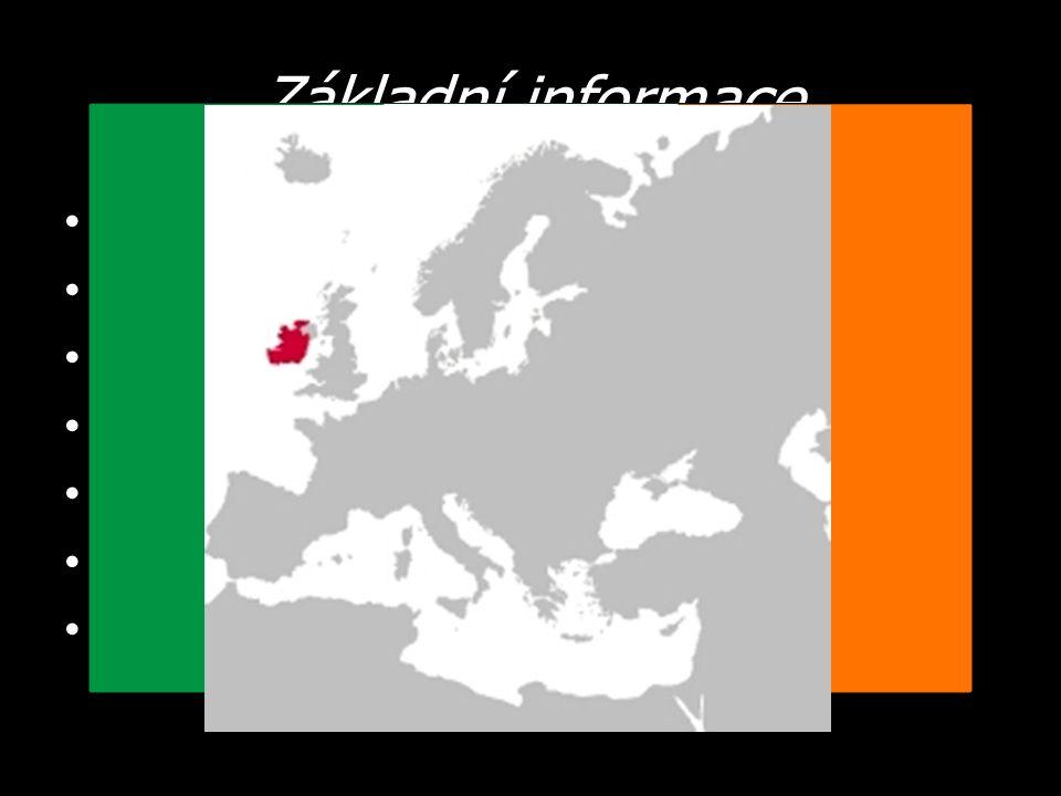 Základní informace Hlavní město – Dublin Počet obyvatel – 4,5 milionů Státní zřízení – parlamentní republika Měna – EURO Úřední jazyk – irština, angličtina Člen – EU, OSN Neutrální člen = není členem NATO