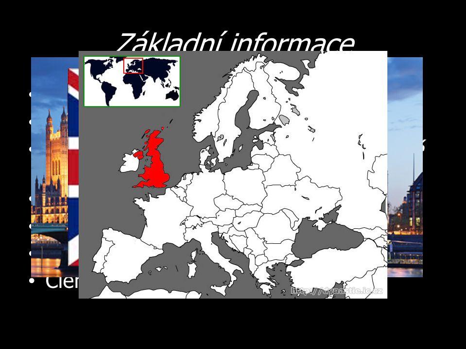 Základní informace Hlavní město – Londýn Počet obyvatel – 60 milionů Oficiální název – Spojené království Velké Británie a Severního Irska Státní zřízení – parlamentní monarchie Měna – libra šterlinků (GBP (£)) Úřední jazyk – angličtina Člen – EU, NATO, G8