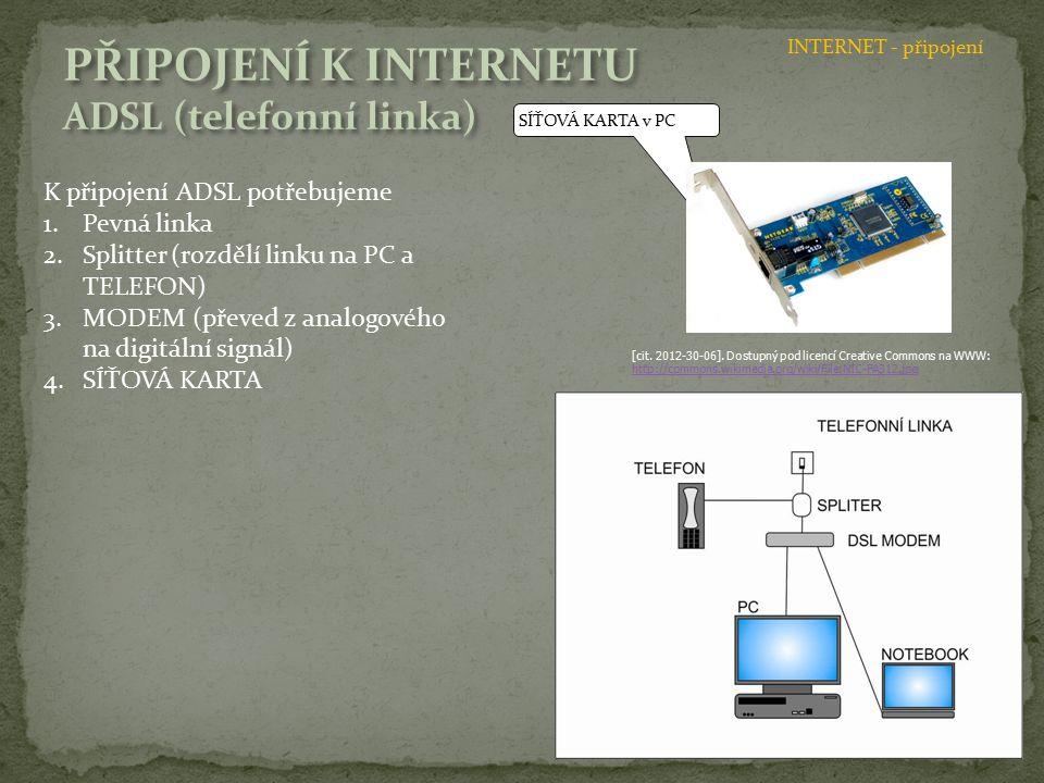 SÍŤOVÁ KARTA v PC K připojení ADSL potřebujeme 1.Pevná linka 2.Splitter (rozdělí linku na PC a TELEFON) 3.MODEM (převed z analogového na digitální sig