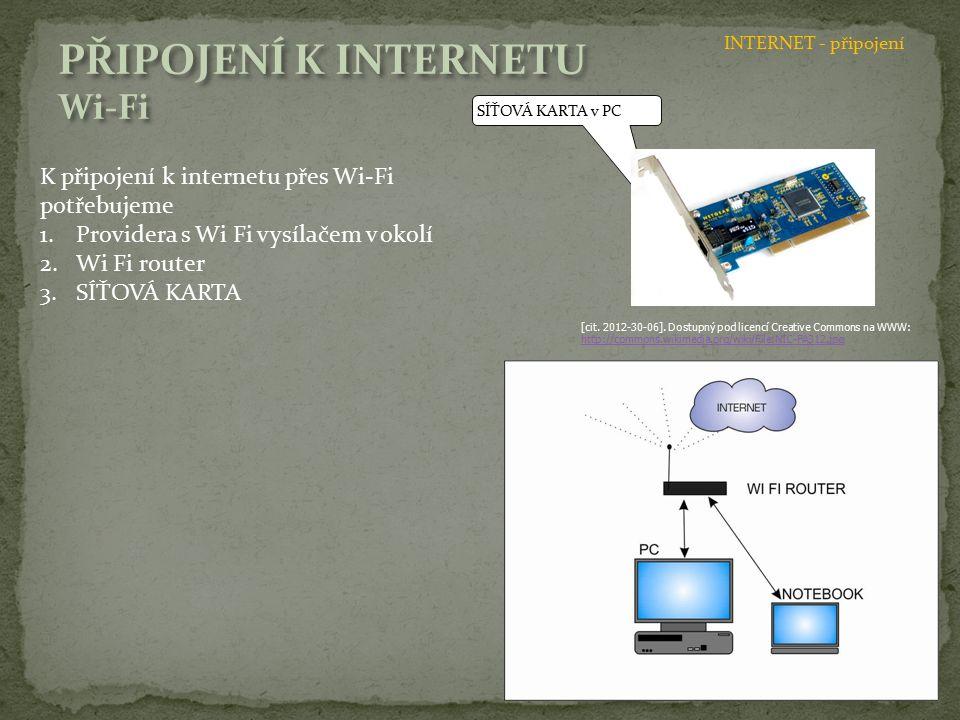SÍŤOVÁ KARTA v PC K připojení k internetu přes Wi-Fi potřebujeme 1.Providera s Wi Fi vysílačem v okolí 2.Wi Fi router 3.SÍŤOVÁ KARTA [cit. 2012-30-06]