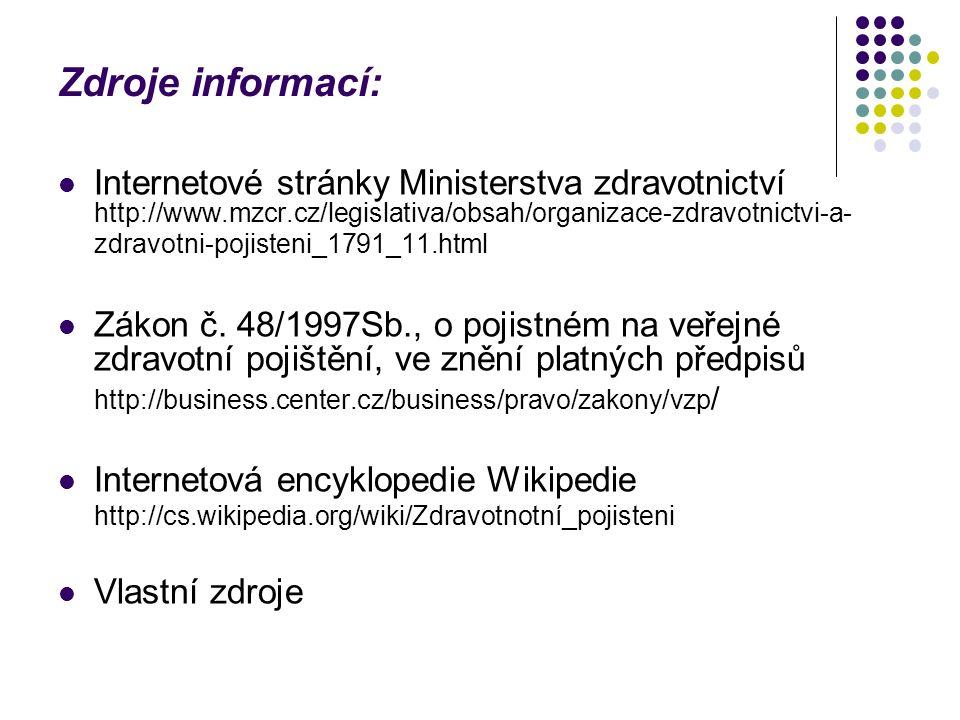 Zdroje informací: Internetové stránky Ministerstva zdravotnictví http://www.mzcr.cz/legislativa/obsah/organizace-zdravotnictvi-a- zdravotni-pojisteni_