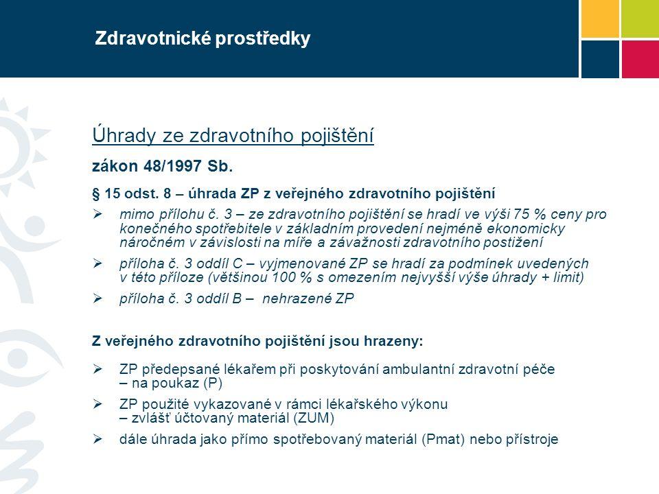 Zdravotnické prostředky Úhrady ze zdravotního pojištění zákon 48/1997 Sb.