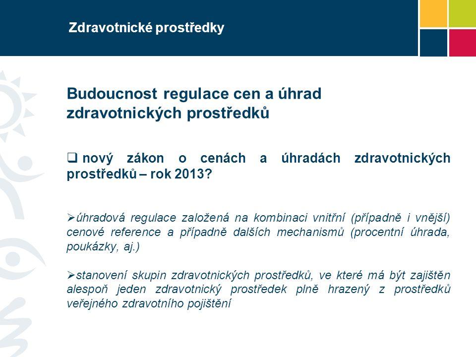 Zdravotnické prostředky Budoucnost regulace cen a úhrad zdravotnických prostředků  nový zákon o cenách a úhradách zdravotnických prostředků – rok 2013.