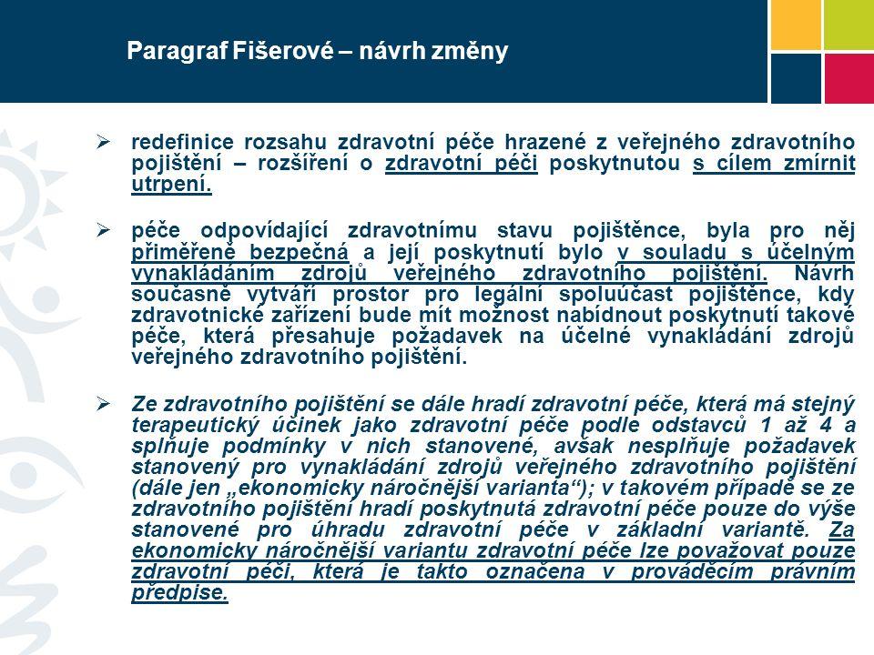 Paragraf Fišerové – návrh změny  redefinice rozsahu zdravotní péče hrazené z veřejného zdravotního pojištění – rozšíření o zdravotní péči poskytnutou s cílem zmírnit utrpení.