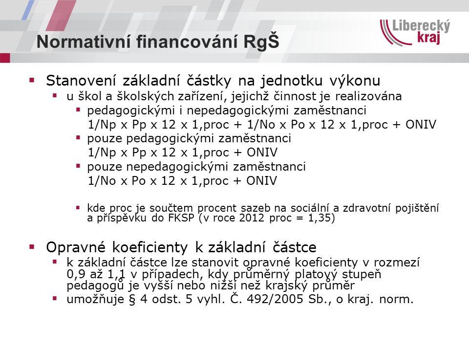 Normativní financování RgŠ  Stanovení základní částky na jednotku výkonu  u škol a školských zařízení, jejichž činnost je realizována  pedagogickými i nepedagogickými zaměstnanci 1/Np x Pp x 12 x 1,proc + 1/No x Po x 12 x 1,proc + ONIV  pouze pedagogickými zaměstnanci 1/Np x Pp x 12 x 1,proc + ONIV  pouze nepedagogickými zaměstnanci 1/No x Po x 12 x 1,proc + ONIV  kde proc je součtem procent sazeb na sociální a zdravotní pojištění a příspěvku do FKSP (v roce 2012 proc = 1,35)  Opravné koeficienty k základní částce  k základní částce lze stanovit opravné koeficienty v rozmezí 0,9 až 1,1 v případech, kdy průměrný platový stupeň pedagogů je vyšší nebo nižší než krajský průměr  umožňuje § 4 odst.