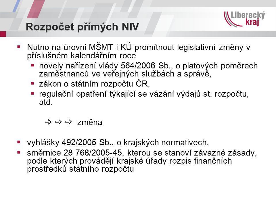 Rozpočet přímých NIV  Nutno na úrovni MŠMT i KÚ promítnout legislativní změny v příslušném kalendářním roce  novely nařízení vlády 564/2006 Sb., o platových poměrech zaměstnanců ve veřejných službách a správě,  zákon o státním rozpočtu ČR,  regulační opatření týkající se vázání výdajů st.