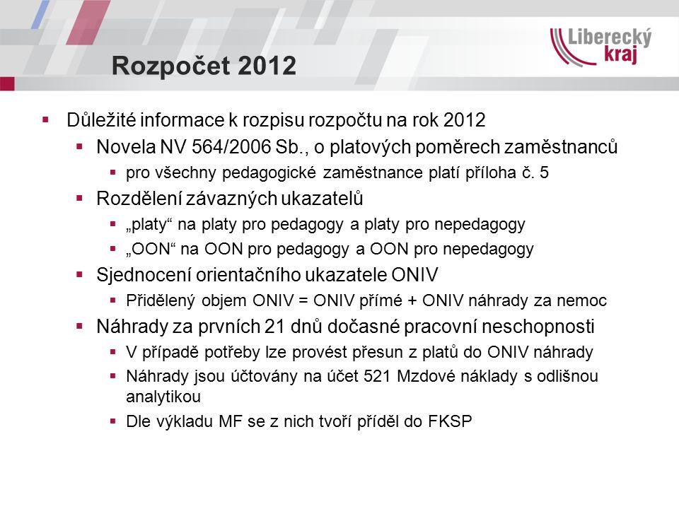 Rozpočet 2012  Důležité informace k rozpisu rozpočtu na rok 2012  Novela NV 564/2006 Sb., o platových poměrech zaměstnanců  pro všechny pedagogické zaměstnance platí příloha č.