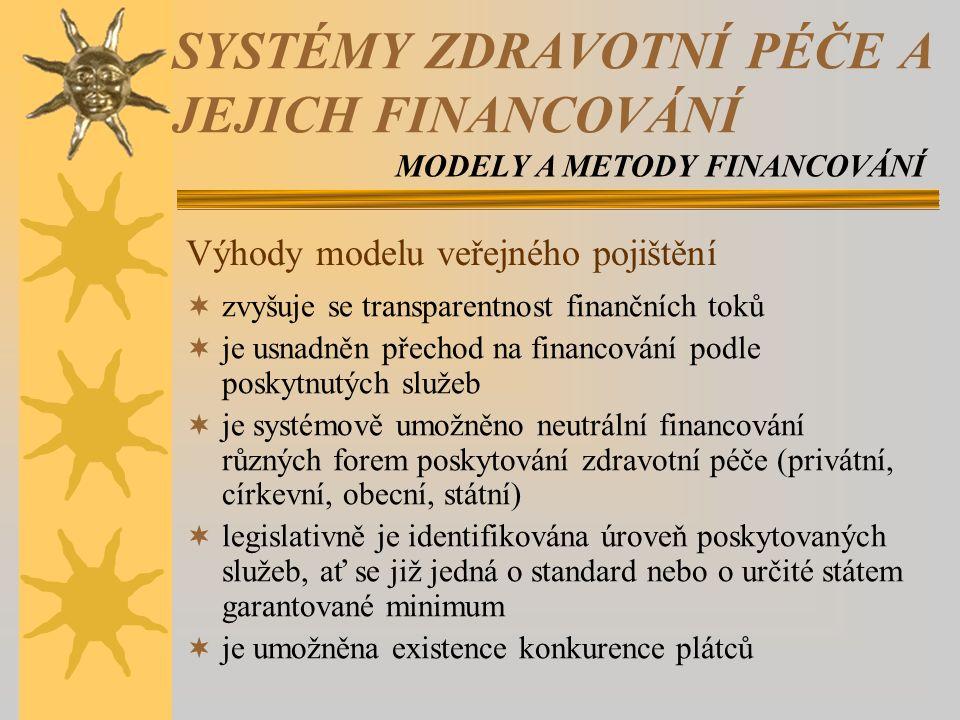  zvyšuje se transparentnost finančních toků  je usnadněn přechod na financování podle poskytnutých služeb  je systémově umožněno neutrální financování různých forem poskytování zdravotní péče (privátní, církevní, obecní, státní)  legislativně je identifikována úroveň poskytovaných služeb, ať se již jedná o standard nebo o určité státem garantované minimum  je umožněna existence konkurence plátců Výhody modelu veřejného pojištění SYSTÉMY ZDRAVOTNÍ PÉČE A JEJICH FINANCOVÁNÍ MODELY A METODY FINANCOVÁNÍ