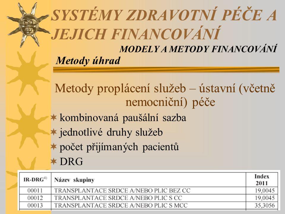 Metody proplácení služeb – ústavní (včetně nemocniční) péče  kombinovaná paušální sazba  jednotlivé druhy služeb  počet přijímaných pacientů  DRG Metody úhrad SYSTÉMY ZDRAVOTNÍ PÉČE A JEJICH FINANCOVÁNÍ MODELY A METODY FINANCOVÁNÍ