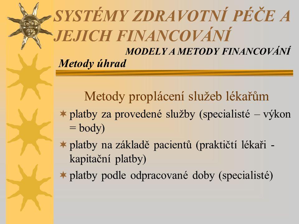 Metody proplácení služeb lékařům  platby za provedené služby (specialisté – výkon = body)  platby na základě pacientů (praktičtí lékaři - kapitační platby)  platby podle odpracované doby (specialisté) Metody úhrad SYSTÉMY ZDRAVOTNÍ PÉČE A JEJICH FINANCOVÁNÍ MODELY A METODY FINANCOVÁNÍ