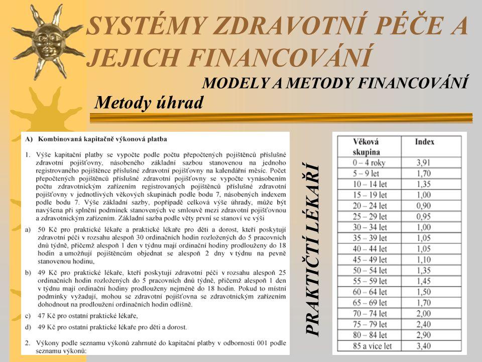 Metody úhrad SYSTÉMY ZDRAVOTNÍ PÉČE A JEJICH FINANCOVÁNÍ MODELY A METODY FINANCOVÁNÍ PRAKTIČTÍ LÉKAŘÍ