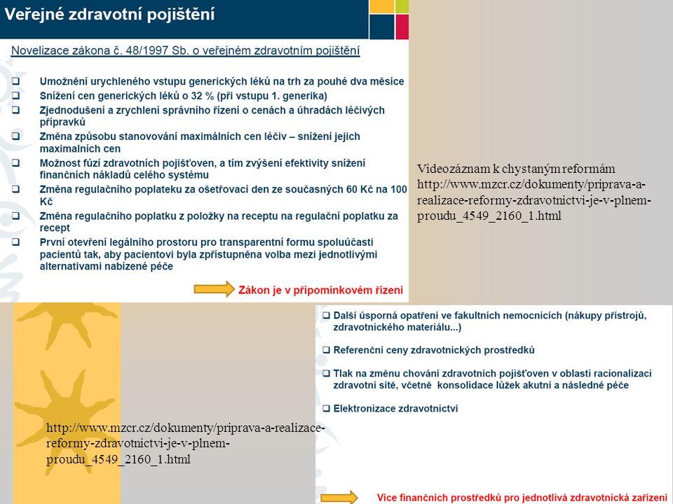 http://www.mzcr.cz/dokumenty/priprava-a-realizace- reformy-zdravotnictvi-je-v-plnem- proudu_4549_2160_1.html Videozáznam k chystaným reformám http://www.mzcr.cz/dokumenty/priprava-a- realizace-reformy-zdravotnictvi-je-v-plnem- proudu_4549_2160_1.html
