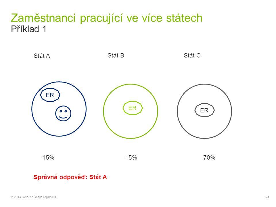 24 © 2014 Deloitte Česká republika Zaměstnanci pracující ve více státech Příklad 1 ER Stát A Stát BStát C ER 15% 70% Správná odpověď: Stát A