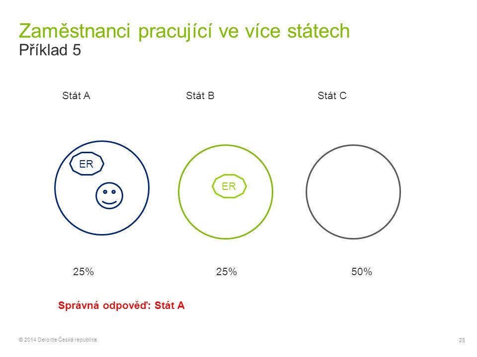 28 © 2014 Deloitte Česká republika Zaměstnanci pracující ve více státech Příklad 5 ER Stát AStát BStát C ER 25% 50% Správná odpověď: Stát A