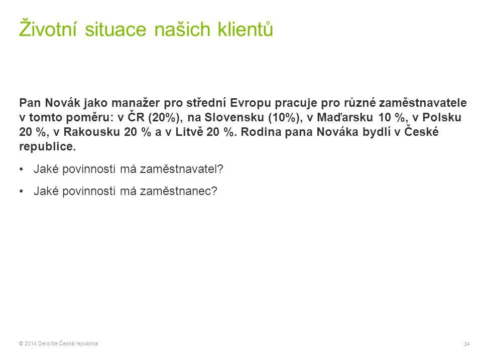 34 © 2014 Deloitte Česká republika Životní situace našich klientů Pan Novák jako manažer pro střední Evropu pracuje pro různé zaměstnavatele v tomto p