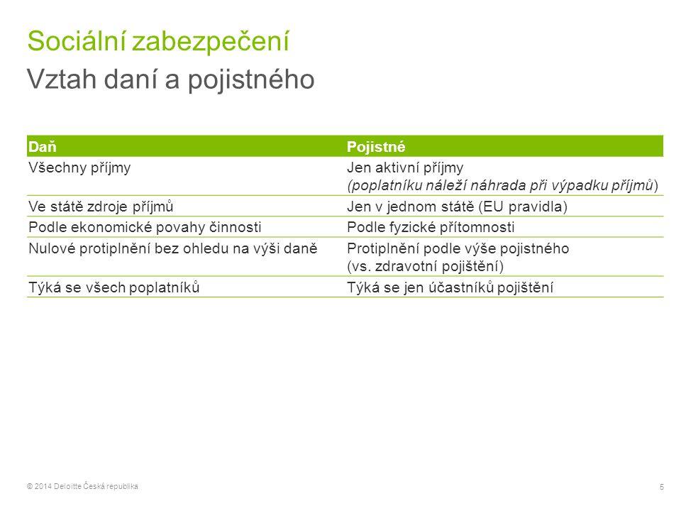 56 © 2014 Deloitte Česká republika Zaměstnanci – zdravotní pojištění Vyměřovací základ Vyměřovacím základem je úhrn příjmů ze závislé činnosti a funkčních požitků, které jsou předmětem daně z příjmů fyzických osob a nejsou od této daně osvobozeny, a které mu zaměstnavatel zúčtoval v souvislosti se zaměstnáním (plnění v peněžní i nepeněžní formě a jiné výhody poskytnuté zaměstnavatelem) Do vyměřovacího základu se nezahrnuje zejména Náhrada škody podle zákoníku práce Odstupné, odchodné a odbytné poskytované na základě zvláštních právních předpisů Odměny vyplácené podle zákona o vynálezech a zlepšovacích návrzích, pokud vytvoření a uplatnění vynálezu nebo zlepšovacího návrhu nemělo souvislost s výkonem zaměstnání Jednorázová sociální výpomoc poskytnutá zaměstnanci k překlenutí jeho mimořádně obtížných poměrů vzniklých v důsledku živelní pohromy, požáru, ekologické nebo průmyslové havárie nebo jiné mimořádně závažné události