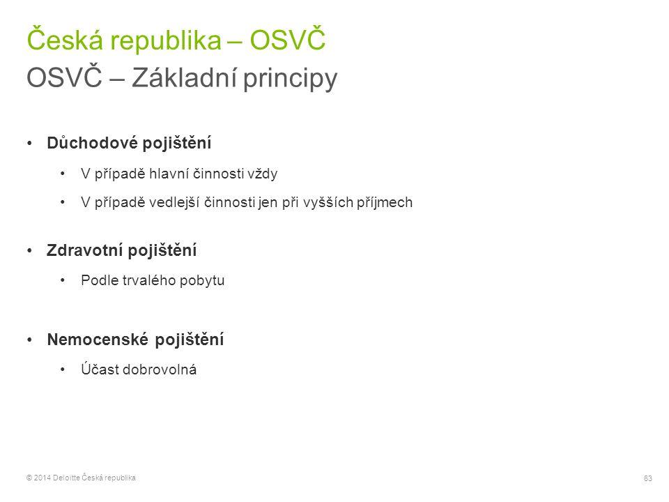 63 © 2014 Deloitte Česká republika Česká republika – OSVČ OSVČ – Základní principy Důchodové pojištění V případě hlavní činnosti vždy V případě vedlej