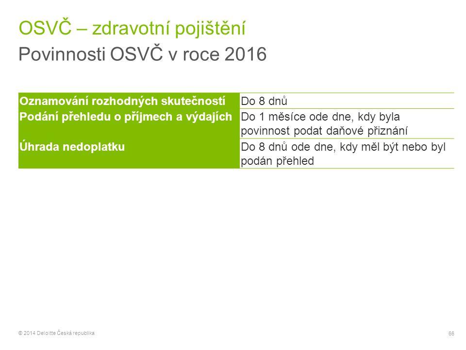 66 © 2014 Deloitte Česká republika OSVČ – zdravotní pojištění Povinnosti OSVČ v roce 2016 Oznamování rozhodných skutečnostíDo 8 dnů Podání přehledu o