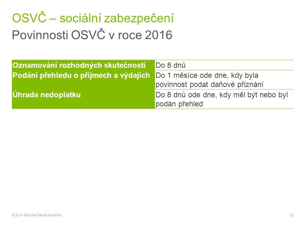 70 © 2014 Deloitte Česká republika OSVČ – sociální zabezpečení Povinnosti OSVČ v roce 2016 Oznamování rozhodných skutečnostíDo 8 dnů Podání přehledu o