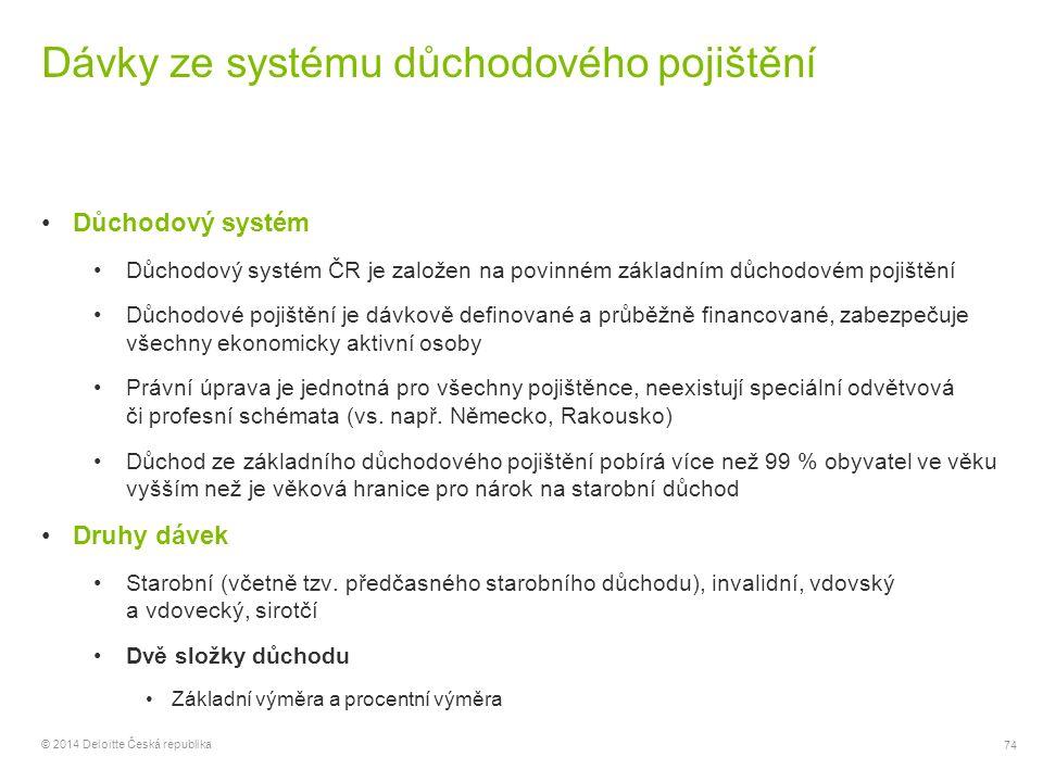 74 © 2014 Deloitte Česká republika Dávky ze systému důchodového pojištění Důchodový systém Důchodový systém ČR je založen na povinném základním důchod