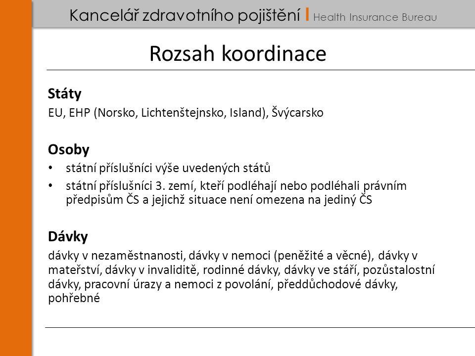 Kancelář zdravotního pojištění I Health Insurance Bureau Rozsah koordinace Státy EU, EHP (Norsko, Lichtenštejnsko, Island), Švýcarsko Osoby státní příslušníci výše uvedených států státní příslušníci 3.