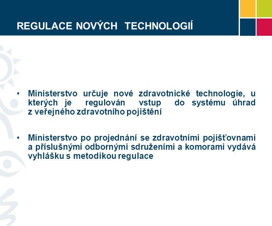 REGULACE NOVÝCH TECHNOLOGIÍ Ministerstvo určuje nové zdravotnické technologie, u kterých je regulován vstup do systému úhrad z veřejného zdravotního pojištění Ministerstvo po projednání se zdravotními pojišťovnami a příslušnými odbornými sdruženími a komorami vydává vyhlášku s metodikou regulace