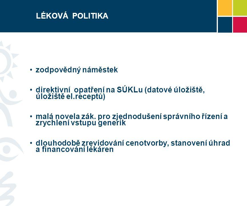 LÉKOVÁ POLITIKA zodpovědný náměstek direktivní opatření na SÚKLu (datové úložiště, úložiště el.receptů) malá novela zák.