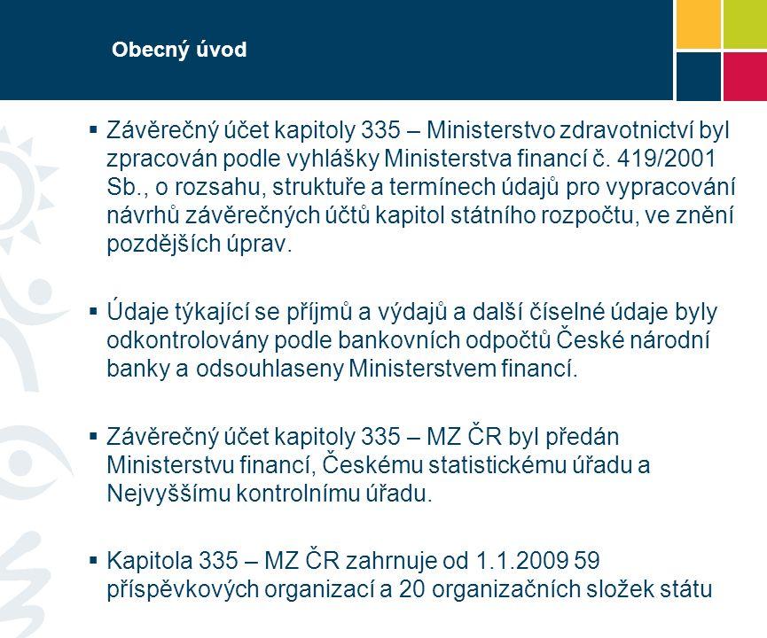 Obecný úvod  Závěrečný účet kapitoly 335 – Ministerstvo zdravotnictví byl zpracován podle vyhlášky Ministerstva financí č.
