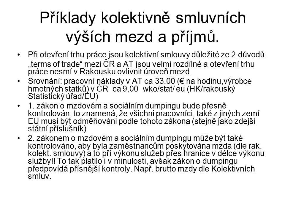 """Příklady kolektivně smluvních výších mezd a příjmů. Při otevření trhu práce jsou kolektivní smlouvy důležité ze 2 důvodů. """"terms of trade"""" mezi ČR a A"""