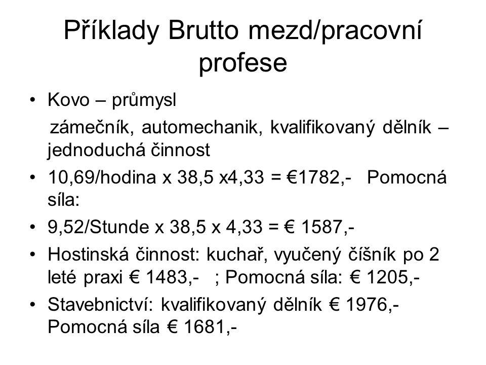 Příklady Brutto mezd/pracovní profese Kovo – průmysl zámečník, automechanik, kvalifikovaný dělník – jednoduchá činnost 10,69/hodina x 38,5 x4,33 = €17
