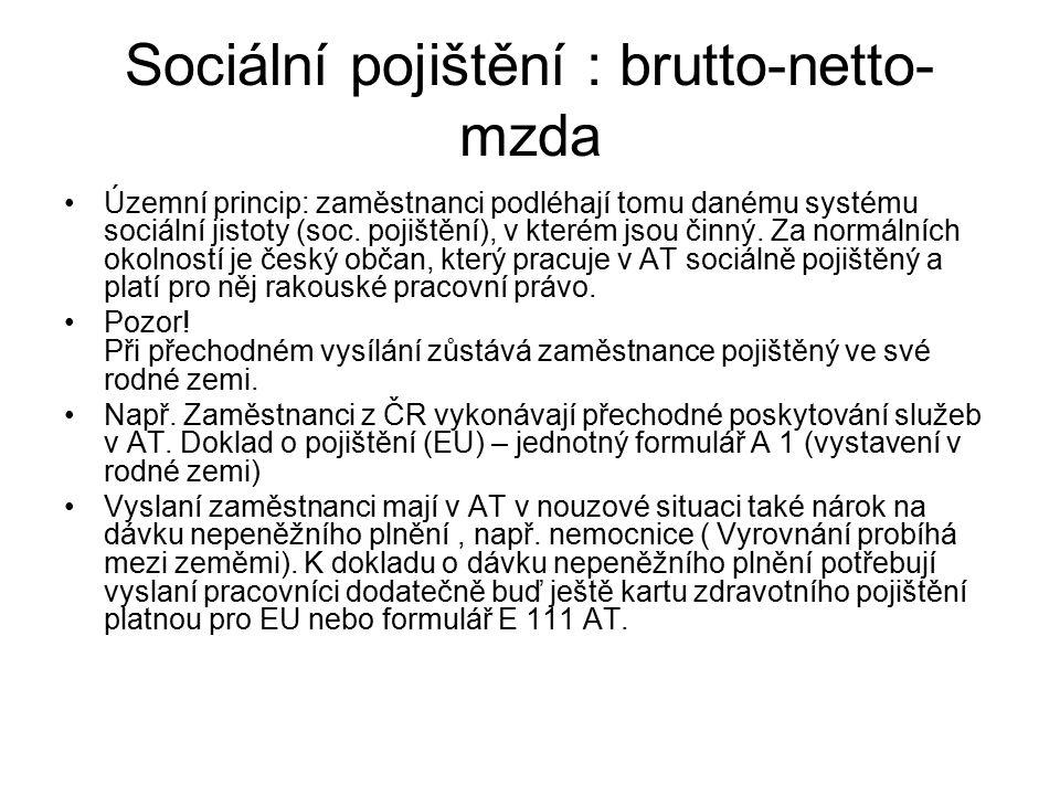 Sociální pojištění : brutto-netto- mzda Územní princip: zaměstnanci podléhají tomu danému systému sociální jistoty (soc. pojištění), v kterém jsou čin