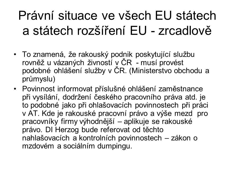 Právní situace ve všech EU státech a státech rozšíření EU - zrcadlově To znamená, že rakouský podnik poskytující službu rovněž u vázaných živností v ČR - musí provést podobné ohlášení služby v ČR.