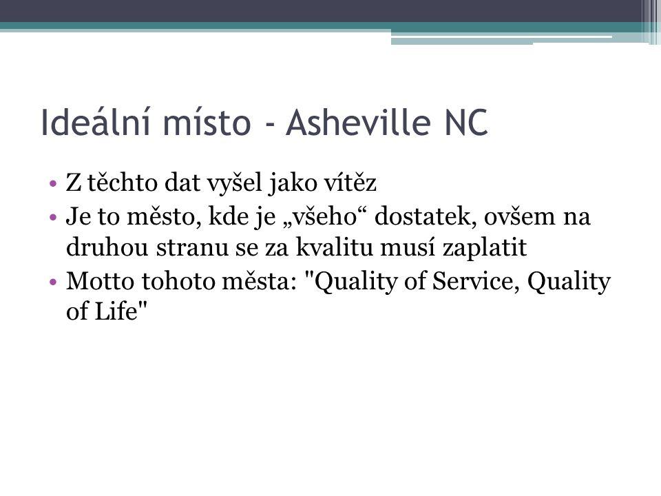 """Ideální místo - Asheville NC Z těchto dat vyšel jako vítěz Je to město, kde je """"všeho dostatek, ovšem na druhou stranu se za kvalitu musí zaplatit Motto tohoto města: Quality of Service, Quality of Life"""