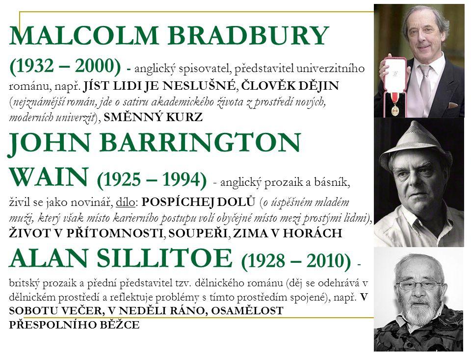 MALCOLM BRADBURY (1932 – 2000) - anglický spisovatel, představitel univerzitního románu, např.